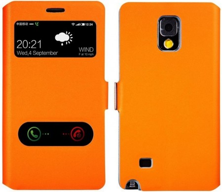Doormoon S-View Twin Window Case Samsung Galaxy Note 4, Orange