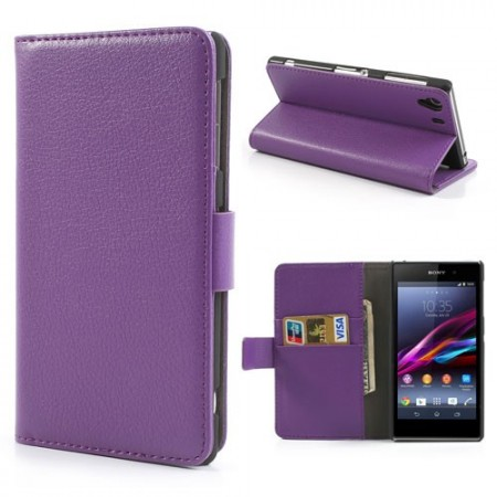 Booklet Flip PU Leather Case for Sony Xperia Z1 (C6903),Purple