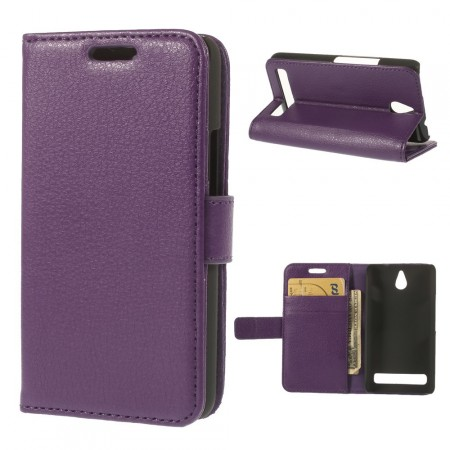 Wallet PU Leather Case for Sony Xperia™ E1 (D2005), Purple