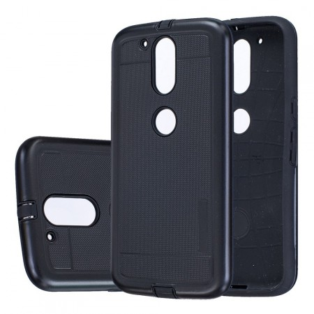 Dot Texture PC/TPU Hybrid Cover for Lenovo Moto G4/G4 Plus, Black
