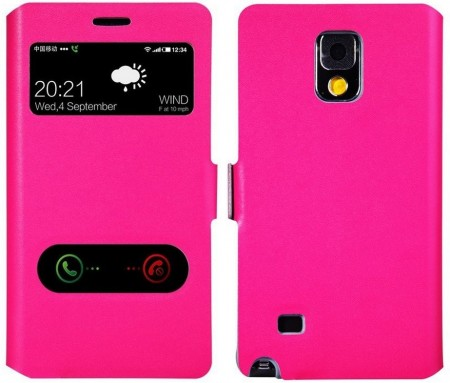 Doormoon S-View Twin Window Case Samsung Galaxy Note 4, Rose