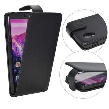 Vertical Flip PU Leather Case for LG Nexus 5 (E980), Black