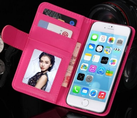 Booklet ID Flip PU Leather Case for Apple iPhone 6 (4,7¨), Hot Pink