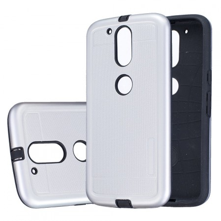 Dot Texture PC/TPU Hybrid Cover for Lenovo Moto G4/G4 Plus, Silver