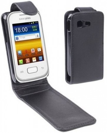 Vertical Flip PU Leather Case for Samsung Galaxy Pocket Plus, Black