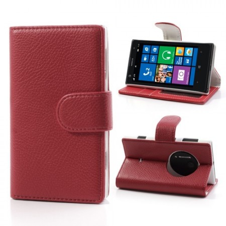 Booklet Flip PU Leather Case for Nokia Lumia 1020, Red