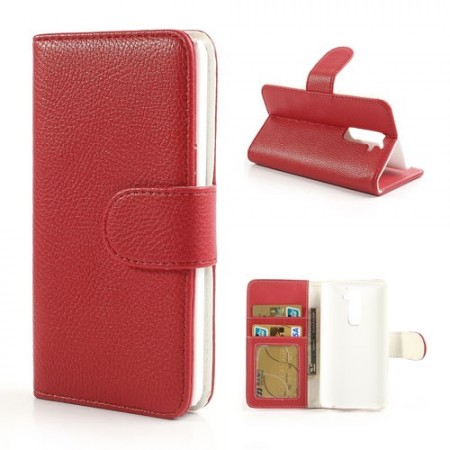 Booklet Flip PU Leather Case for LG Optimus G2 (D802), Red