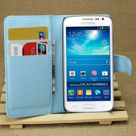 Wallet PU Leather Case Samsung Galaxy Express 2 (G3815), Blue