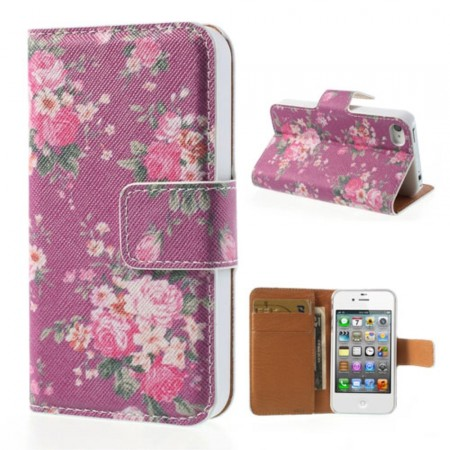 Wallet PU Leather Case for Apple iPhone 4/4S,*Flowers 4.*