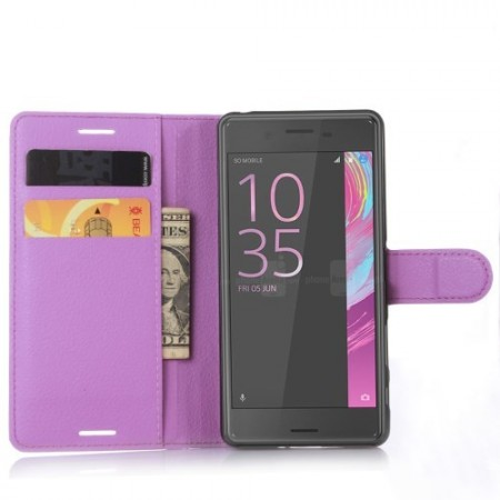 Wallet PU Leather Case for Sony Xperia™ X, Purple