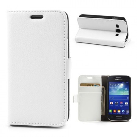 Booklet Flip PU Leather Case for Samsung Galaxy Ace 3, White