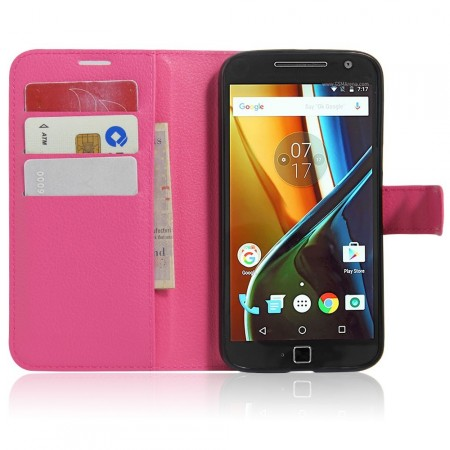Wallet PU Leather Case for Lenovo Moto G4/G4 Plus, Rose