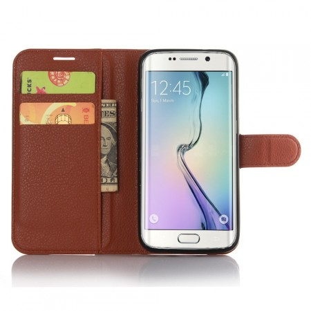 Wallet PU Leather Case for Samsung Galaxy S7 Edge, Mocca