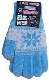 Smart Touch Gloves with *Snowflake*, Blue/White