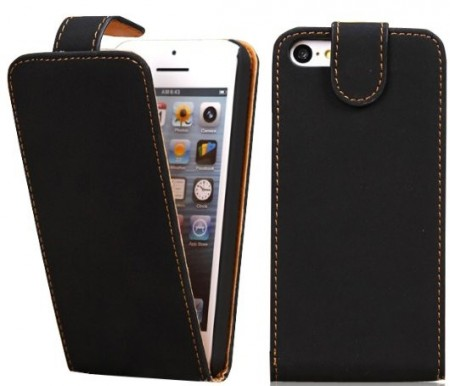 Vertical Flip PU Leather Case for Apple iPhone 5c, *Suede*,Black