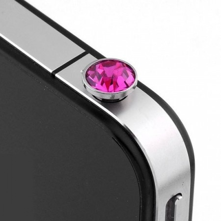 Bling Diamond Ear Plug Anti Dust Stopper,Hot Pink