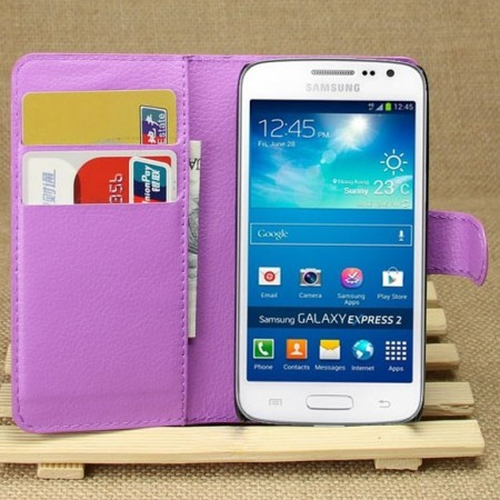 Wallet PU Leather Case Samsung Galaxy Express 2 (G3815), Purple