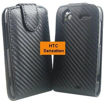 Flip PU Leather Case for HTC Sensation XE, *Carbon*
