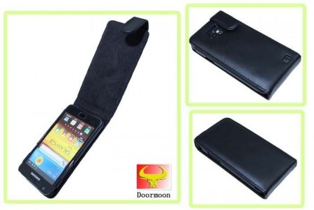 Doormoon Vertical Leather Flip Case Samsung Galaxy S II/S II Plus, Black