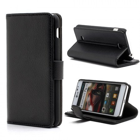 Booklet Flip PU Leather Case for LG Optimus F5 (P875), Black