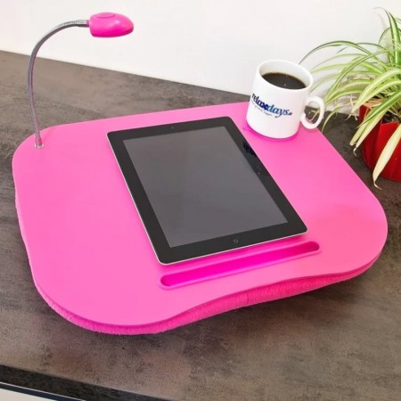 Laptop putebord med glass/koppholder og LED-lys, 44x34cm., Pink