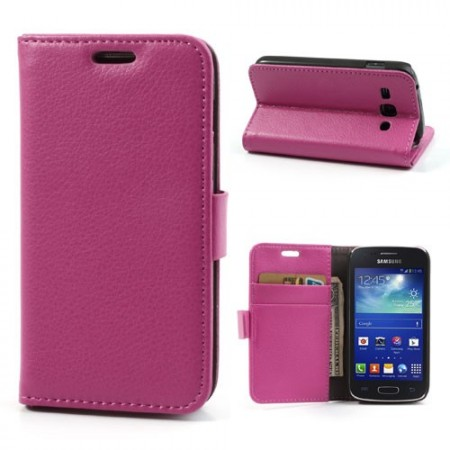 Booklet Flip PU Leather Case for Samsung Galaxy Ace 3, Rose