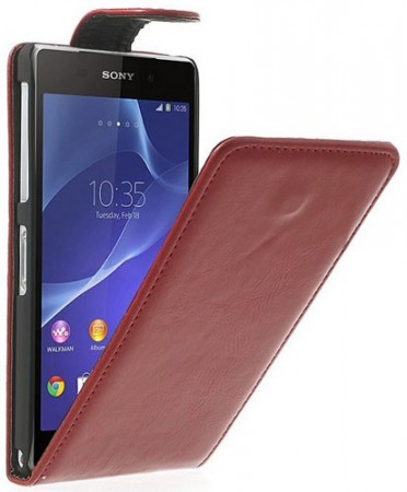 Flip PU Leather Case for Sony Xperia™ Z2, Red