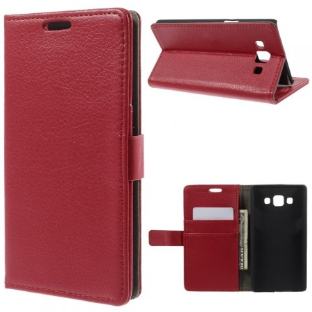 Wallet PU Leather Case for Samsung Galaxy A5, Red