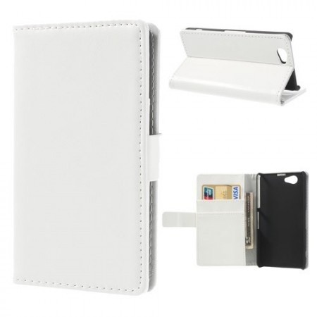 Booklet Flip PU Leather Case for Sony Xperia™ Z1 Compact, White