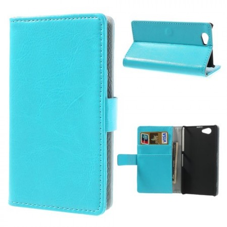 Booklet Flip PU Leather Case for Sony Xperia™ Z1 Compact, Blue