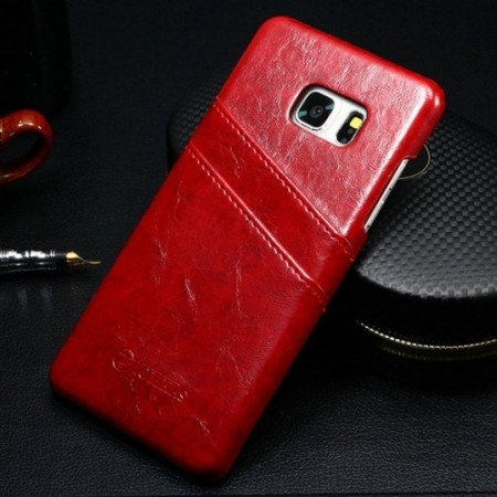 Genuine Leather Hard PC Case for Samsung Galaxy Note 7 with card slots, Red