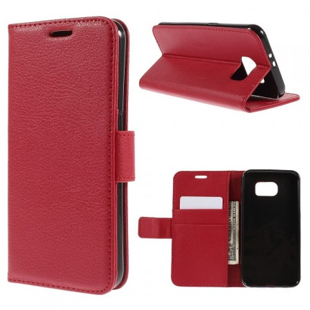 Wallet PU Leather Case for Samsung Galaxy S6 Flat, Red