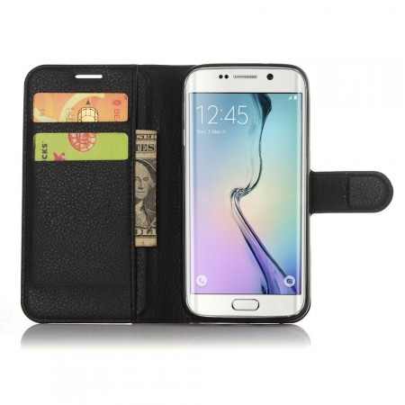 Wallet PU Leather Case for Samsung Galaxy S7 Edge, Black
