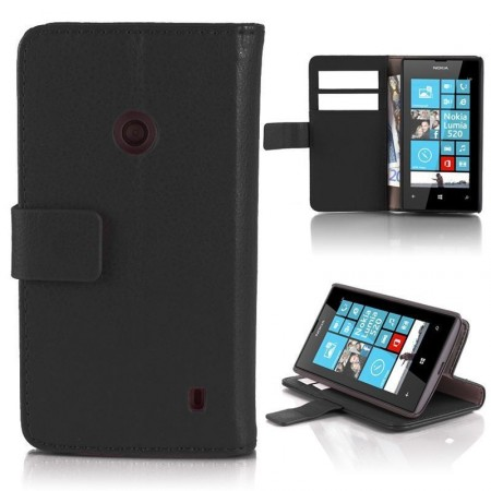 Wallet PU Leather Case for Nokia Lumia 520, Black