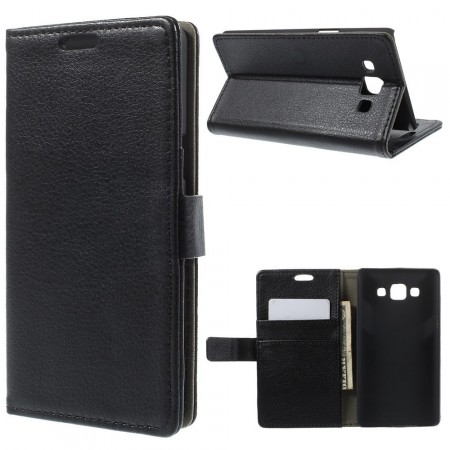 Wallet PU Leather Case for Samsung Galaxy A5, Black