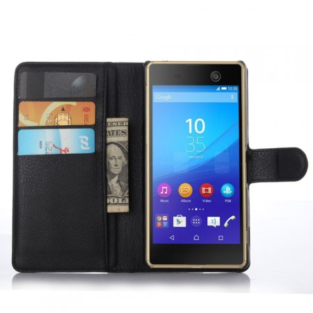 Wallet PU Leather Case for  Sony Xperia™ M5, Black