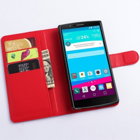 Wallet PU Leather Case for LG G4 (H815), Red